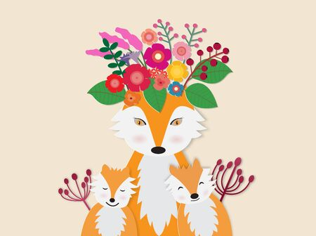 Hello autumn card  with red foxes and her baby with colorful flower,vector illustration paper art style.