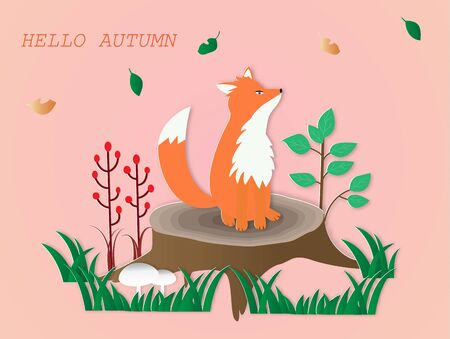 Hello autumn card  with a red fox sitting on the stump,vector illustration paper art style. Stock fotó - 131947341