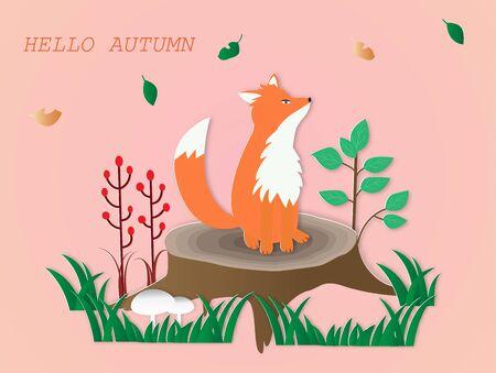 Hello autumn card  with a red fox sitting on the stump,vector illustration paper art style. Illusztráció
