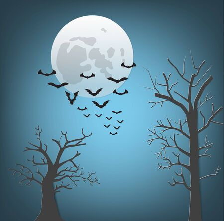 Vector illustration of Halloween night with bats flying,full moon and dry tree.
