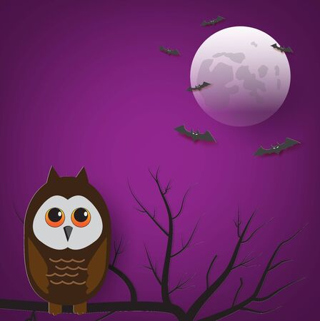 Vector illustration of Halloween night with owl sitting on dry tree.