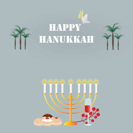 Happy Hanukkah card with different Hanukkah symbols,vector illustration. Ilustração
