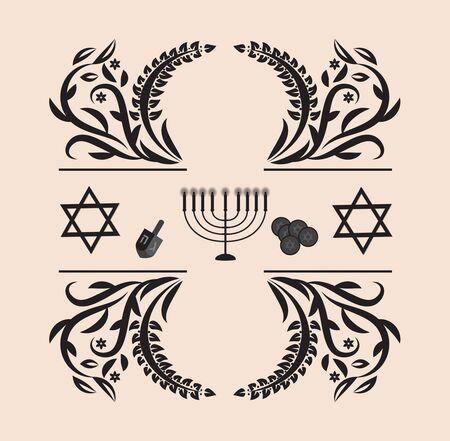 Vintage ornament greeting card for Hanukkah,vector illustration.