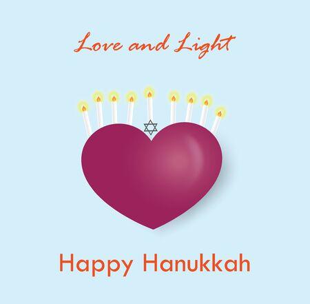 Happy Hanukkah greeting card with candle holder on heart shape, vector illustration. Ilustração