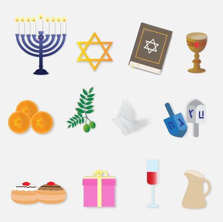 Happy Hanukkah with set of icons, vector illustration paper art style. Ilustração