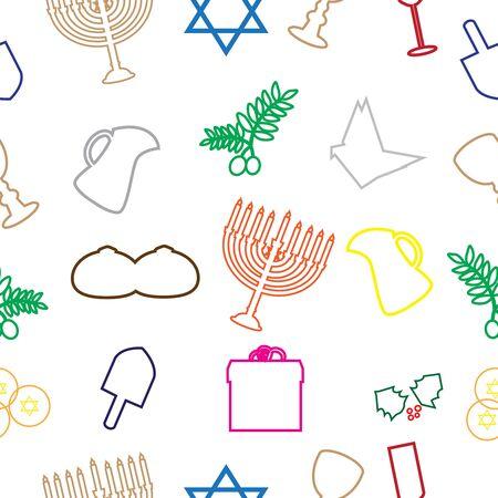 Happy Hanukkah seamless pattern  linear art design.