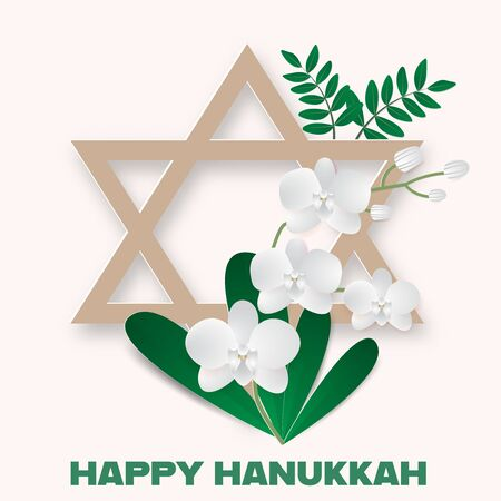 Happy Hanukkah with star of david and orchid bouquet,vector illustration paper art style. Ilustração