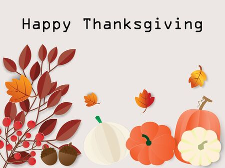 Happy Thanksgiving day celebration card with pumpkins and autumn leaves ,vector illustration paper art style. Ilustração