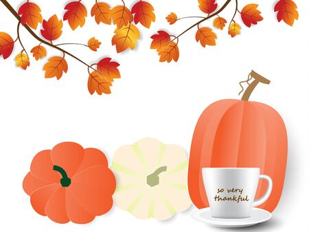 Happy Thanksgiving day celebration card with pumpkins,coffee cup and so very thankful text ,vector illustration paper art style.