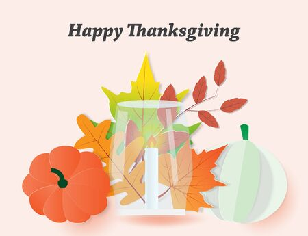 Happy Thanksgiving day celebration card with burning candle and pumpkins,autumn leaves,vector illustration paper art style.