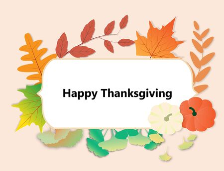 Happy Thanksgiving day greeting card with autumn leave,pumpkins and frame,vector illustration paper art style.