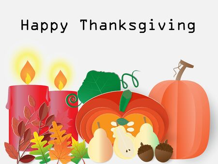 Happy Thanksgiving background with autumn plant and burning candles,vector illustration paper art style. Ilustração