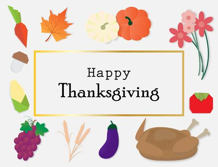 Happy Thanksgiving background with autumn vegetables and roast turkey,vector illustration paper art style.