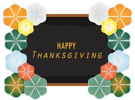Happy Thanksgiving with pumpkins several different colors on black frame ,vector illustration paper art style. Ilustração