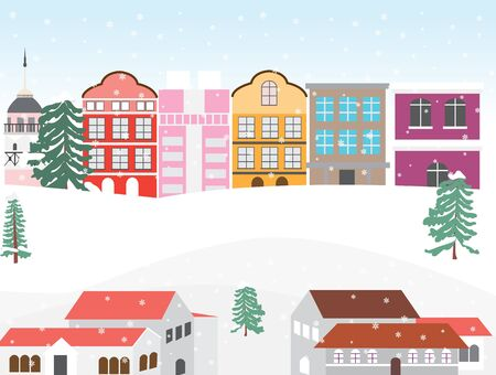 Christmas winter day in a small town,Christmas urban landscape,vector illustration.