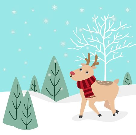 Christmas winter background with a cute reindeer and snowing vector illustration.