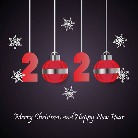Merry Christmas and Happy New Year 2020 with Christmas ball ornament and snowflake,vector illustration.