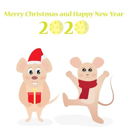 Merry Christmas and Happy New Year 2020 greeting card with funny rats vector illustration. Ilustração
