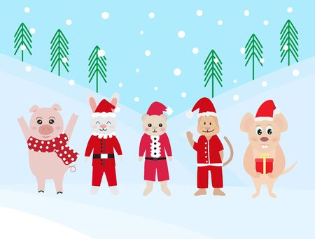 Merry Christmas and Happy New Year 2020 greeting card with funny animal, snowing background, vector illustration. Ilustração