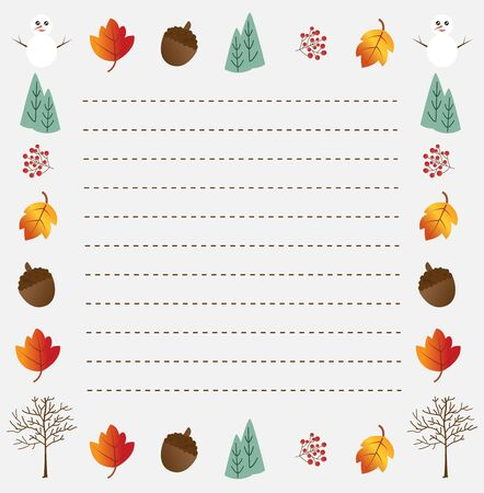 Merry Christmas and Happy New Year note paper design with snowman, pine tree and leaves, vector illustration.