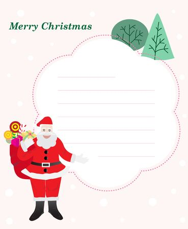 Vector illustration of Santa claus with note paper design and pine tree.