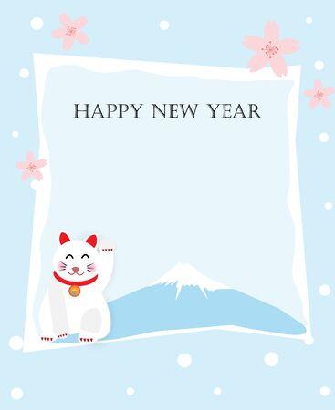 Vector illustration of cute cat and mountain, sakura blossom note paper design.