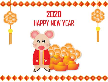 Happy New Year 2020 with a cute rat and Chinese gold,vector illustration paper art style.