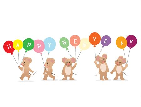 Happy New Year 2020 with cute rats hold colorful balloon,vector illustration.