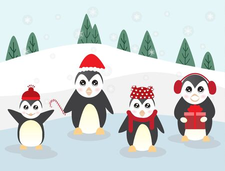 Merry Christmas and Happy New Year with cute cartoon penguin in different character,vector illustration.