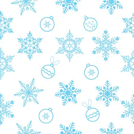 Christmas seamless pattern background with snowflake and Christmas ball.