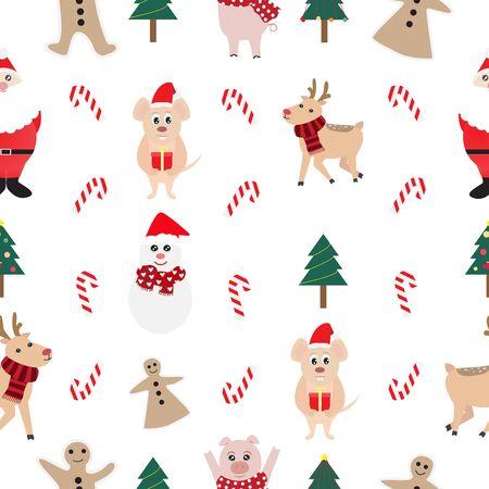 Christmas seamless pattern background with Santa Claus,reindeer,rat,snowman and gingerbread. Ilustração