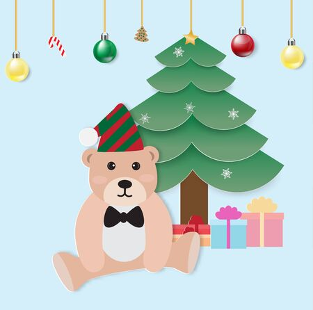 Merry Christmas and Happy New Year greeting card with teddy bear and pine tree,Christmas ball,vector illustration. Ilustração