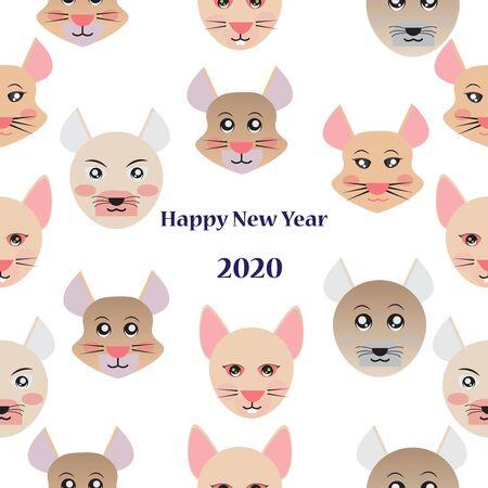 Happy New Year 2020 seamless pattern background with cute cartoon rats. Ilustração