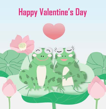 Love greeting card with two frogs on the lotus leaf, vector illustration paper art style.