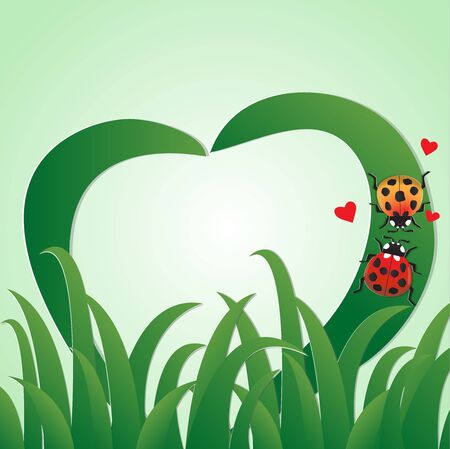 Love greeting card with two ladybugs crawl on the grass, vector illustration paper art style.