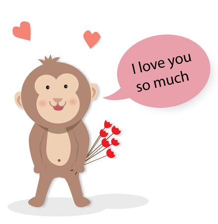Love greeting card with a monkey and i love you so much text, vector illustration paper art style.