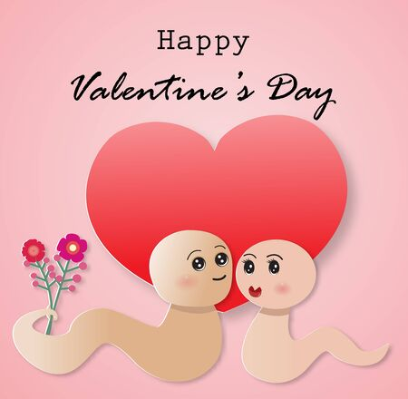 Happy Valentine's day greeting card with couple cute snakes and a red heart,vector illustration paper art style.