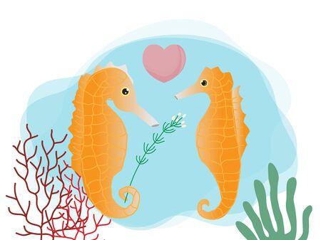 Cute cartoon seahorse couple,vector illustration for Valentine's day. Ilustração