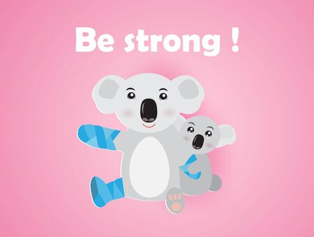 Be strong,inspiration word with koala bear and her baby from forest fire in Australia.Koala bear with blue bandage,vector illustration paper art style.