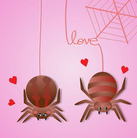 Happy Valentines day greeting card with two spider falling in love,vector illustration paper art style.