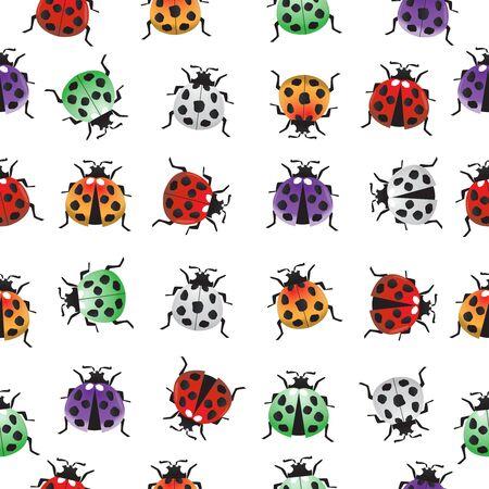 Colorful ladybug seamless pattern,vector illustration.