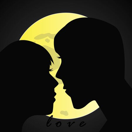 Silhouette of kissing lovers with moon background,vector illustration.