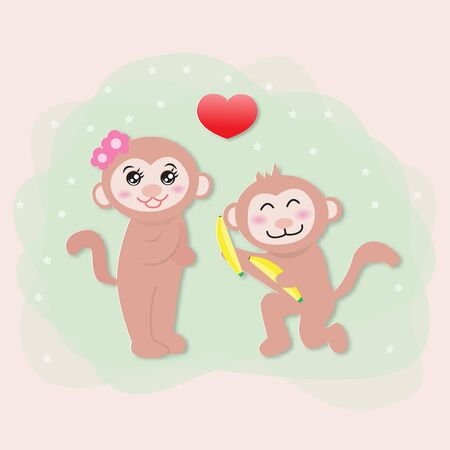 A cartoon monkey is offering banana gifts to his girlfriend,vector illustration paper art style.