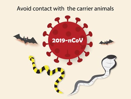 Coronavirus 2019-nCoV outbreak and avoid contact with the carrier animals text, vector illustration paper art style. Ilustração