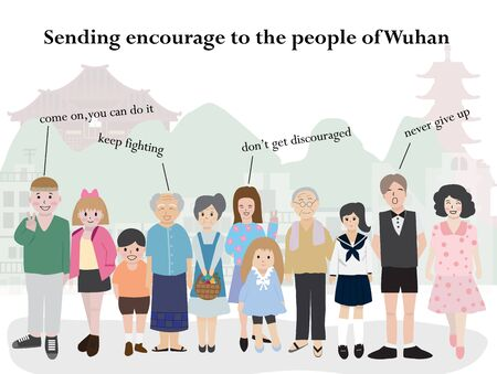 Many people sending encourage to the people of Wuhan, China vector illustration. Pray for Wuhan.