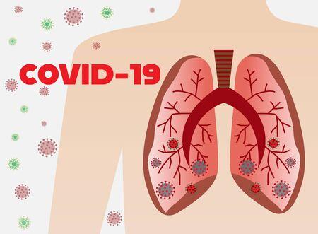 Covid-19 Official name of the 2019 novel coronavirus with human lungs,vector illustration.Corona virus outbreak. Ilustração