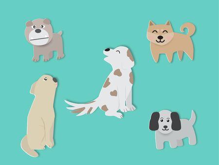 Set of cute dogs, vector illustration paper art style.