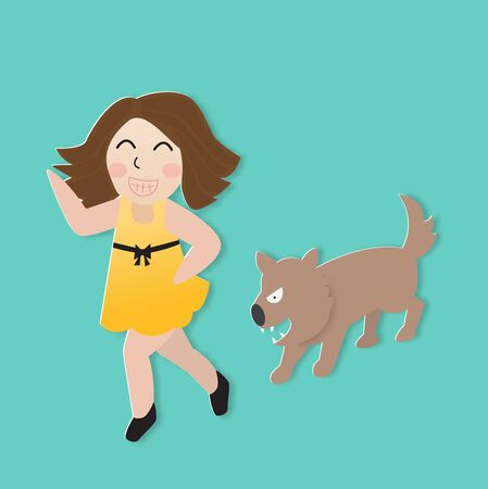 Dog bite a girl, vector illustration paper art style. Çizim