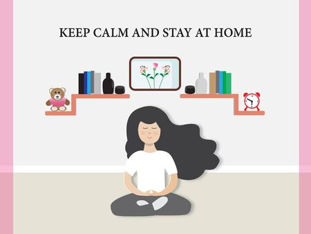 Covid-19 outbreak with A cute girl in meditation and stay at home,vector illustration paper art style.