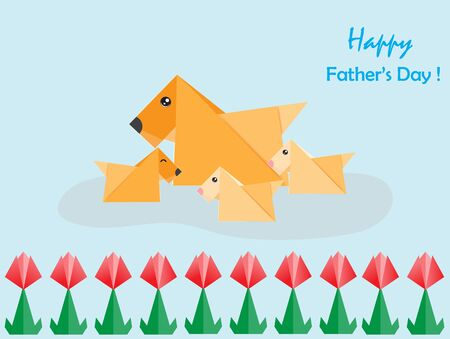 Fathers day greeting card concept with origami dog and his baby,vector illustration paper art style. Ilustração